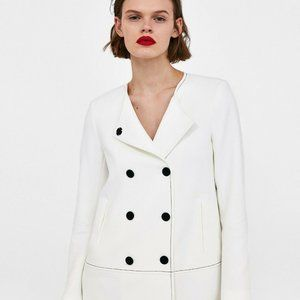 Zara White Double Breasted Blazer Jacket XS